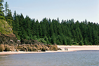 Cape Scott Provincial Park, Northern Vancouver Island, BC, British Columbia, Canada - Hikers on Beach at San Josef Bay