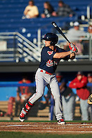 Lowell Spinners outfielder Andrew Benintendi (17) at bat during a game against the Batavia Muckdogs on August 12, 2015 at Dwyer Stadium in Batavia, New York.  Batavia defeated Lowell 6-4.  (Mike Janes/Four Seam Images)
