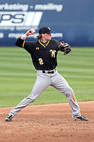 Tanner Kirk (2) of the Wichita State Shockers makes a throw during a game against the Cal State Fullerton Titans at Goodwin Field on March 13, 2016 in Fullerton, California. Cal State Fullerton defeated Wichita State, 7-1. (Larry Goren/Four Seam Images)