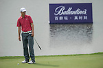 """Ross Fisher was asked by Ballantine's at the BMW Masters to describe how he stays true to himself; his answer is shown. Ballantine's, who recently announced their new global marketing campaign, """"Stay True, Leave An Impression"""", is a sponsor at the BMW Masters, which takes place from the 24-27 October at Lake Malaren Golf Club in Shanghai.  Photo by Andy Jones / The Power of Sport Images for Ballantines."""