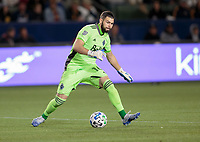 CARSON, CA - MARCH 07: GK Maxime Crepeau #16 of the Vancouver Whitecaps warming up during a game between Vancouver Whitecaps and Los Angeles Galaxy at Dignity Health Sports Park on March 07, 2020 in Carson, California.