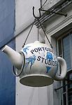 Portobello Road  Tea Pot sign advertising antique arcade. West London Uk 1999 1990s UK