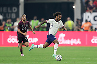 LAS VEGAS, NV - AUGUST 1: Gianluca Busio #6 of the United States during a game between Mexico and USMNT at Allegiant Stadium on August 1, 2021 in Las Vegas, Nevada.