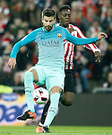 Athletic de Bilbao's Inaki Williams (r) and FC Barcelona's Gerard Pique during Spanish Kings Cup match. January 05,2017. (ALTERPHOTOS/Acero)