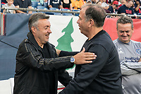 FOXBOROUGH, MA - SEPTEMBER 29: Bruce Arena of New England Revolution greets Domonet Torrent, coach of New York City FC during a game between New York City FC and New England Revolution at Gillettes Stadium on September 29, 2019 in Foxborough, Massachusetts.