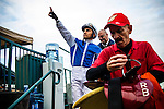 Rafael Bejarano salutes the crowd after winning the  the Citation Handicap on November 29, 2013 at Betfair Hollywood Park in Inglewood, California .(Alex Evers/ Eclipse Sportswire)