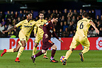 Lionel Andres Messi (C) of FC Barcelona battles for the ball with Ruben Afonso Borges Semedo (L) of Villarreal CF during the La Liga 2017-18 match between Villarreal CF and FC Barcelona at Estadio de la Ceramica on 10 December 2017 in Villarreal, Spain. Photo by Maria Jose Segovia Carmona / Power Sport Images