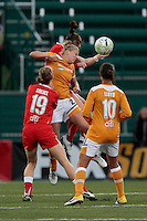 Lauren Sesselmann (front) of the Atlanta Beat goes up for a header with Brittany Bock of the Western New York Flash during the first half of WPS play at Sahlen's Stadium in Rochester, NY May 01, 2011. New York 3, Atlanta 0.