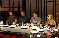 LAS VEGAS, NV - July 15, 2021: Clay harbor, Blake Horstman, Dylan Barbour and Hannah Godwin pictured at Benihana Restaurant at Westgate Las Vegas Resort & Casino in Las Vegas, NV on July 15, 2021. <br /> CAP/MPI/GDP<br /> ©GDP/MPI/Capital Pictures