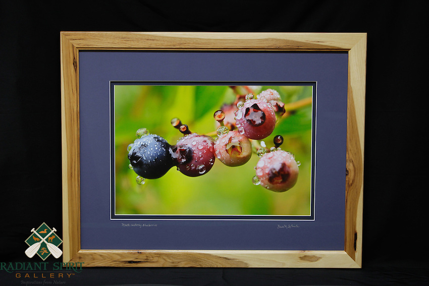"""""""Mouth-watering Blueberries"""", hand-made hickory frame, conservation grade matting, TruVue Museum Glass. Contact us for availability."""