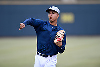 Third baseman Mark Vientos (13) of the Columbia Fireflies warms up before a game against the Charleston RiverDogs on Friday, April 5, 2019, at Segra Park in Columbia, South Carolina. Charleston won, 6-1. (Tom Priddy/Four Seam Images)