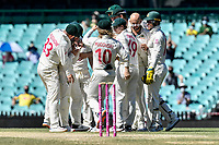 11th January 2021; Sydney Cricket Ground, Sydney, New South Wales, Australia; International Test Cricket, Third Test Day Five, Australia versus India; Marnus Labuschagne of Australia congratulates Matthew Wade of Australia on his catch to dismiss Ajinkya Rahane of India