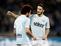 Calcio, Serie A: Lazio - Udinese, Roma, stadio Olimpico, 24 gennaio 2018.<br /> Lazio's Felipe Anderson (l) celebrates after scoring with his teammate Luis Alberto Romero (r) during the Italian Serie A football match between Lazio and Udinese at Rome's Olympic stadium, January 24, 2018.<br /> UPDATE IMAGES PRESS/Isabella Bonotto