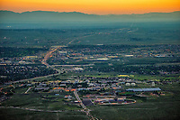 Aerial of Colorado State University, Pueblo.  dusk with sunset sky. 2017