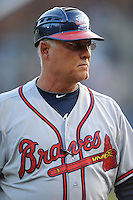 Rome Braves manager Randy Ingle #12 during a game against the Asheville Tourists at McCormick Field, Asheville, North Carolina April 19, 2012. The Tourists won the game 10-6  (Tony Farlow/Four Seam Images)..
