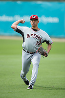 Hickory Crawdads starting pitcher Ariel Jurado (19) warms up in the outfield prior to the game against the Kannapolis Intimidators at CMC-Northeast Stadium on April 17, 2015 in Kannapolis, North Carolina.  The Crawdads defeated the Intimidators 9-5 in game one of a double-header.  (Brian Westerholt/Four Seam Images)
