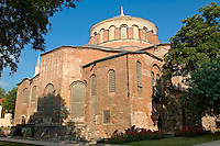 "Hagia Irene or Hagia Eirene ( , ""Holy Peace"", Aya rini), the first Christian Roman Basilica built in Constantinople by Emperor Constantine. Rebuilt by Emperor Justinian I had the church restored in 548 and dedicated to his wife Now just inside the walls of the Topkapi Palace with the 19th century historic Ottoman houses of Soukçeme Soka in the foreground , Istanbul Turkey"