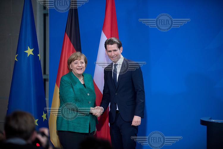 Sebastian Kurz, Chancellor of Austria, and Chancellor Angela Merkel, during a press call at the Chancellery.