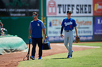 Rancho Cucamonga Quakes outfielder Logan Landon (6) before a California League game against the Stockton Ports at Banner Island Ballpark on May 17, 2018 in Stockton, California. Stockton defeated Rancho Cucamonga 2-1. (Zachary Lucy/Four Seam Images)