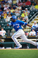 Toronto Blue Jays designated hitter Anthony Alford (75) at bat during a Spring Training game against the Pittsburgh Pirates on March 3, 2016 at McKechnie Field in Bradenton, Florida.  Toronto defeated Pittsburgh 10-8.  (Mike Janes/Four Seam Images)