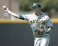 Baylor 2B Raynor Campbell throw to 1st against Texas on May 3rd, 2008. Photo by Andrew Woolley / Four Seam Images