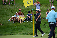 6th June 2021; Dublin, Ohio, USA; Shane Lowry (IRL) throws his ball to some young fans after slam dunking his approach shot on 9 during the Memorial Tournament final round at Muirfield Village Golf Club