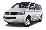 Stock pictures of low aggressive front three quarter view of a 2014 Volkswagen CARAVELLE COMFORTLINE 4 Door Passenger Van Low Aggressive