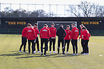 The Workington Team inspect the pitch. Rushall Olympic 1 Workingon 0, Northern Premier League Premier Division, 17th February 2018. Rushall is a former mining village now part of the northern suburbs of Walsall.