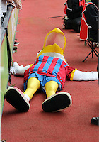 Pictured:The Crystal Palace mascot lies on the floor after a Swansea supporter inserted his head in its beak<br /> Re: Premier League match between Crystal Palace and Swansea City at Selhurst Park on Sunday 24 May 2015 in London, England, UK