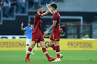 26th September 2021;  Stadio Olimpico, Rome, Italy; Italian Serie A football, SS Lazio versus AS Roma; Roger Ibañez of AS Roma celebrates after scoring his goal for 2-1 in the 43rd minute