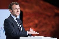 EMMANUEL MACRON ASSISTE AU GRAND ORAL SUR LA SANTE ET SUR LA PROTECTION SOCIALE, LE 21 FEVRIER 2017 A PARIS.