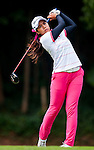 Ajira Nualraksa of Thailand hits her shot during the Hyundai China Ladies Open 2014 practice day on December 11 2014 at Mission Hills Shenzhen, in Shenzhen, China. Photo by Xaume Olleros / Power Sport Images