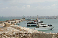 boats, anchored, along a jetty, Alexandria harbour, Mediterranean Sea, North of Egypt, North Africa