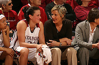 2 February 2008: Stanford Cardinal Jillian Harmon (left) and assistant coach Kate Paye (right) during Stanford's 75-62 win against the UCLA Bruins at Maples Pavilion in Stanford, CA.