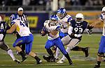 San Jose State's Jarrod Lawson runs against Nevada in an NCAA college football game in Reno, Nev., on Saturday, Nov. 16, 2013. (AP Photo/Cathleen Allison)