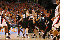 6 April 2008: Stanford Cardinal (L-R) Candice Wiggins, Jeanette Pohlen, Jillian Harmon, Kayla Pedersen, Cissy Pierce, Rosalyn Gold-Onwude, and Melanie Murphy during Stanford's 82-73 win against the Connecticut Huskies in the 2008 NCAA Division I Women's Basketball Final Four semifinal game at the St. Pete Times Forum Arena in Tampa Bay, FL.