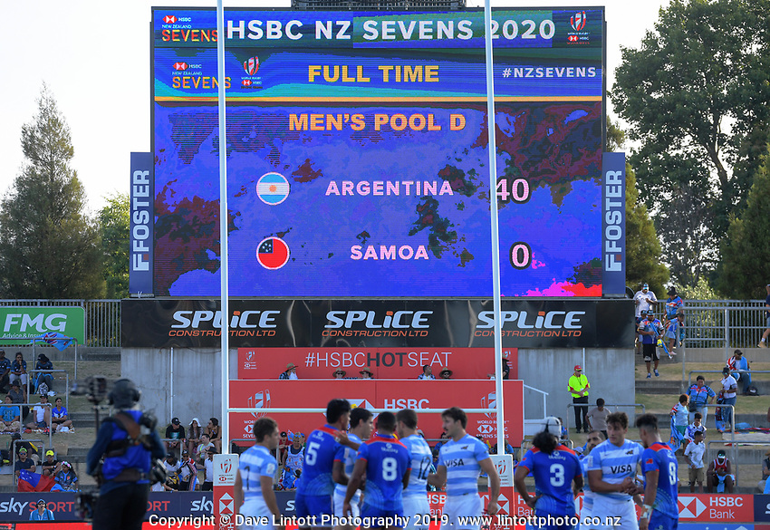 The fulltime score of 40-0 shows on the big screen after the Argentina v Samoa men's pool match. Day one of the 2020 HSBC World Sevens Series Hamilton at FMG Stadium in Hamilton, New Zealand on Saturday, 25 January 2020. Photo: Dave Lintott / lintottphoto.co.nz
