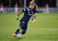 LAKE BUENA VISTA, FL - AUGUST 01: Valentín Castellanos #11 of New York City FC cuts the ball during a game between Portland Timbers and New York City FC at ESPN Wide World of Sports on August 01, 2020 in Lake Buena Vista, Florida.