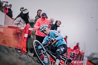 Eli Iserbyt (BEL/Marlux-Bingoal) slipping off the camber<br /> <br /> Men's U23 race<br /> <br /> UCI 2019 Cyclocross World Championships<br /> Bogense / Denmark<br /> <br /> ©kramon
