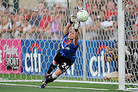 Western New York Flash goalkeeper Ashlyn Harris (24) makes the game winning save in the penalty kick shootout. The Western New York Flash defeated the Philadelphia Independence 5-4 in penalty kicks after playing to a 1-1 tie during the Women's Professional Soccer (WPS) Championship presented by Citi at Sahlen's Stadium in Rochester NY, on August 27, 2011.