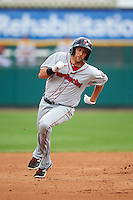 Pawtucket Red Sox second baseman Jeff Bianchi (16) runs the bases after hitting a triple during a game against the Rochester Red Wings on July 1, 2015 at Frontier Field in Rochester, New York.  Rochester defeated Pawtucket 8-4.  (Mike Janes/Four Seam Images)