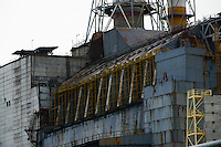 Metallic reinforcements of south part of confinement for 4th reactor of Chernobyl Power Plant. Old sarcophagus was designed to last approximately for 30 years and first years of construction of new confinement were spent on reinforcement of old shelter.