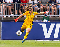 EAST HARTFORD, CT - JULY 5: Alyssa Naeher #1 of the USWNT kicks the ball during a game between Mexico and USWNT at Rentschler Field on July 5, 2021 in East Hartford, Connecticut.