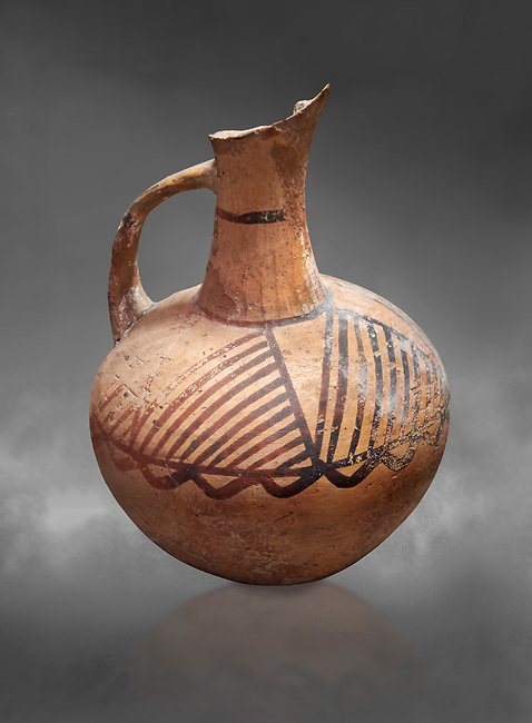 Cycladic ceramic jug with painted linear decoration. Cycladic II (2800-2300 BC) , Chalandriani, Syros. National Archaeological Museum Athens. Cat no 4969.   Gray background.