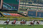 ARCADIA, CA  SEP 26:  #4 Bulletproof One, ridden by Ricardo Gonzalez, leads the field in the stretch of the Unzip Me Stakes on September 26, 2020 at Santa Anita Park in Arcadia, CA. (Photo by Casey Phillips/Eclipse Sportswire/CSM.
