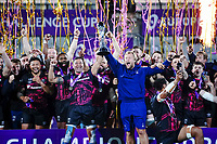 16th October 2020, Stade Maurice David, Aix-en-Provence, France;  Challenge Cup Rugby Final Bristol Bears versus RC Toulon;   Bristol Bears  Pat Lam lifts the trophy in celebration