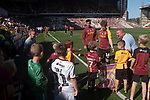 Bradford City 3, Carlisle United 1, 21/09/2019. Valley Parade, EFL League 2. Home played Matt Palmer greeting young fans after the wam-up before Bradford City played Carlisle United in a Skybet League 2 fixture at Valley Parade. The home team were looking to bounce back after being relegated during a disastrous 2018-19 season on and off the pitch. Bradford won the match 3-1, watched by a crowd of 14, 217. Photo by Colin McPherson.