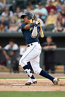 Third baseman Milton Ramos (24) of the Columbia Fireflies bats in a game against  the Charleston RiverDogs on Friday, June 9, 2017, at Spirit Communications Park in Columbia, South Carolina. Columbia won, 3-1. (Tom Priddy/Four Seam Images)