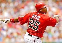 11 June 2006: Marlon Byrd, outfielder for the Washington Nationals, watches one fly during a game against the Philadelphia Phillies at RFK Stadium, in Washington, DC. The Nationals shut out the visiting Phillies 6-0 to take the series three games to one...Mandatory Photo Credit: Ed Wolfstein Photo..