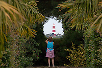 East Ruston, Norfolk, England, 05/08/2009..View of Happisburgh Lighthouse from East Ruston Vicarage Gardens.
